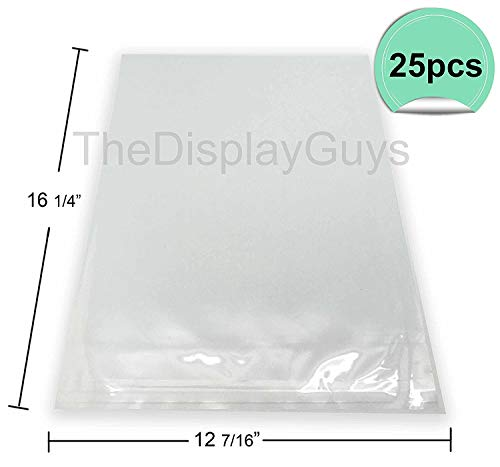 The Display Guys, 25 Pcs 12 7/16 x 16 1/4 Clear Self Adhesive Plastic Bags for 12x16 inches Picture, Poster, Photo Framing Mats