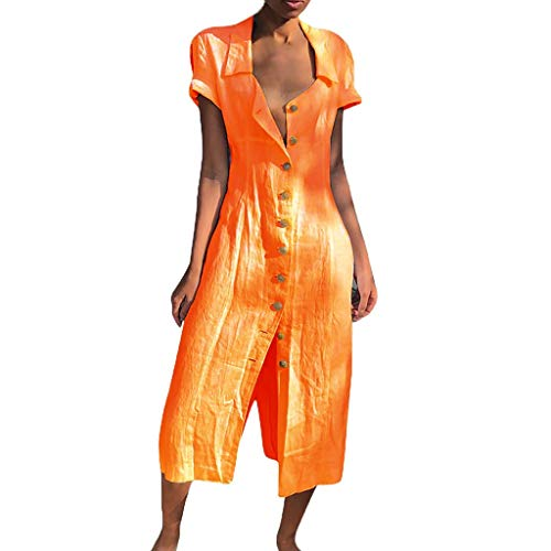 URIBAKY Leinenkleider Damen Lange Kleid,beiläufige T-Shirtkleid,Kurzarm Sommerkleid Feste beiläufige Knopf-Kleid-Hülsen-lose