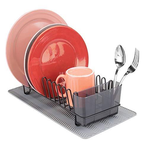 mDesign - Afdruiprek - met antislip afdruipmat - perfect voor bestek, glazen en bekers - Zwart/smoke/grijs - 2-delige set