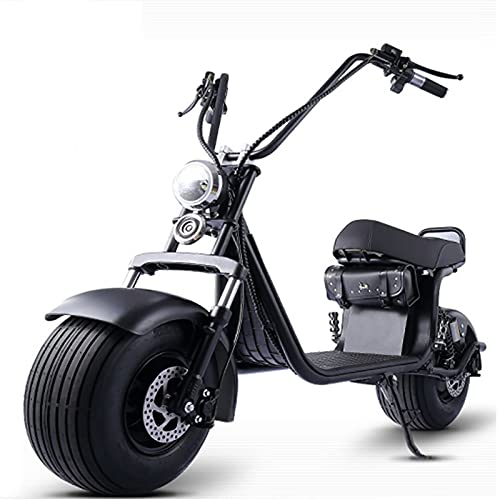 ZGZFEIYU Easy Front and Rear Shock Absorption Scooter Adult Scooter Bicycle Electric Wide Tire Battery Car-schwarz