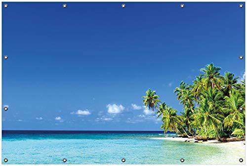Wallario Garten-Poster Outdoor-Poster, Blauer Himmel weißer Strand Palmen und das tiefblaue Meer in Premiumqualität, für den Außeneinsatz geeignet