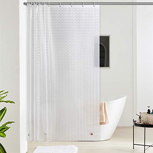 Furlinic 180x180 Duschvorhang Transparent Anti-schimmel in Badezimmer Vorhang für Badewanne Dusche aus Eva Wasserdicht mit 12 Duschvorhangringe 3D Effekt Funkelnden Saum mit Steinen.