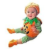 TMOYJPX Disfraz Halloween Bebe Niña Niño Calabaza Cremallera Monos / Sudadera con Capucha, Disfraces Halloween Niñas Recien Nacido (C~Chaleco+Sombrero+Zapato, 2-3 años)