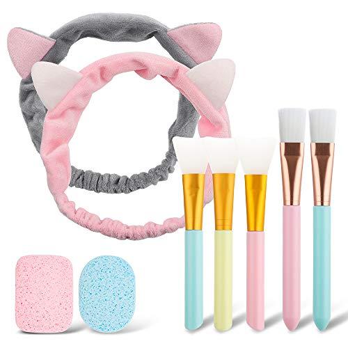 Lot de 9 pinceaux de maquillage pour le nettoyage du visage avec bandeau en poils de chat et éponge, pour femmes et filles