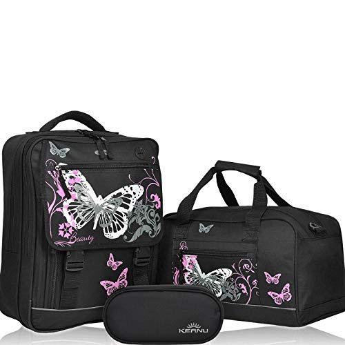 3 Teile Set Fabrizio Schulrucksack, Sporttasche, Mäppchen für Mädchen und Jungen Motive (Butterfly Black)