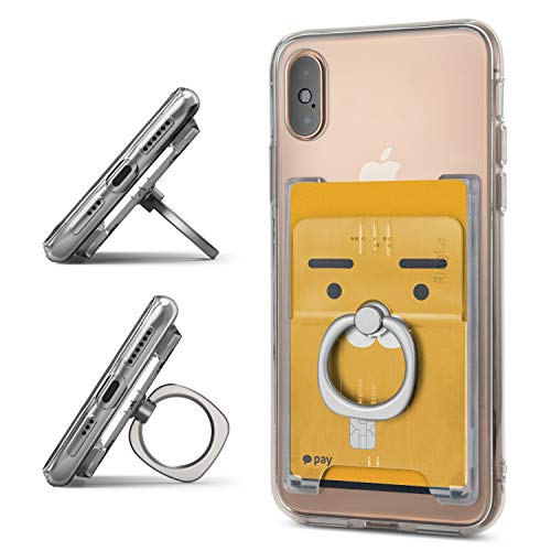 Ringke Ring Slot Card Holder [Clear Mist] Delgado Difícil Prima PC Accesorio para Tarjeta de Crédito con el Soporte del Anillo de Dedo Compatible con Funda, Almohadilla y más para Teléfonos Móviles