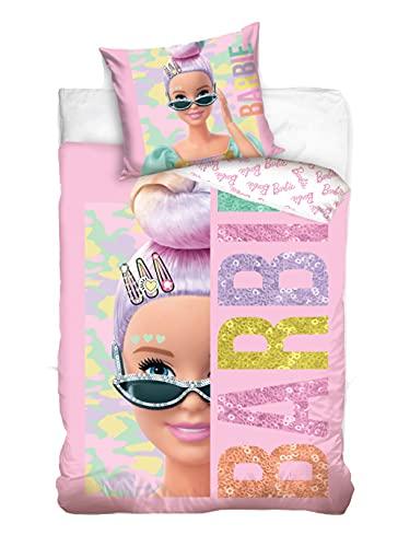 Barbie Funda nórdica con funda de almohada (140 x 200 cm y 70 x 90 cm, algodón), diseño reversible