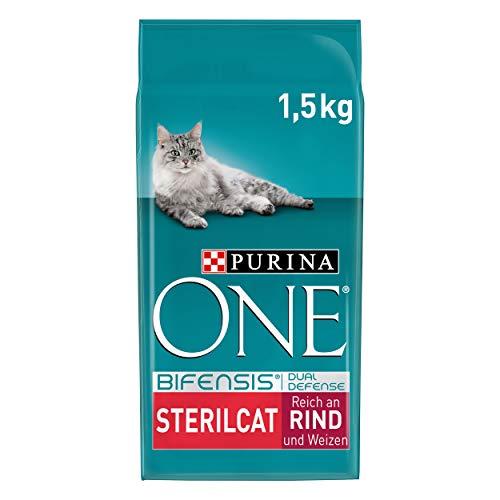 PURINA ONE BIFENSIS STERILCAT Katzenfutter trocken für sterilisierte Katzen, reich an Rind, 6er Pack (6 x 1,5kg)