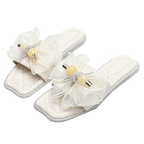 FDSVCSXV Sandalias planas para mujer con punta cuadrada abierta para mujer, zapatos casuales, sandalias planas, cómodas para caminar, albaricoque, 39