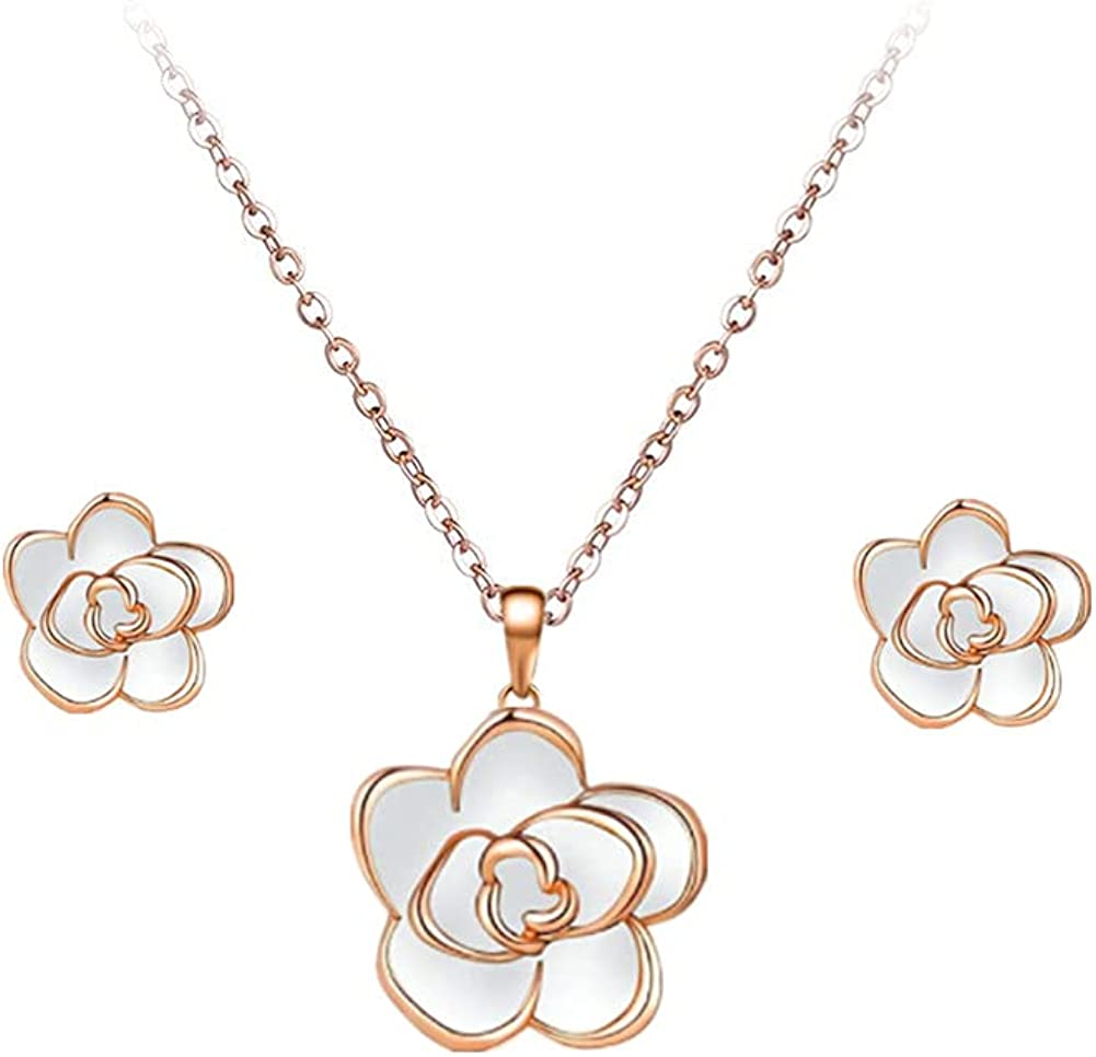 18K Gold Plated Rose Flower Necklace Earrings Set for Women Hypoallergenic Jewelry Sets