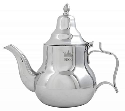 Marokkanische Teekanne Sahara 1,4 l, Orientalische Teekanne aus Messing 1400ml, mit integriertem Filter, traditionelles Modell, Arabische Kanne silberfarbig mit Deckel