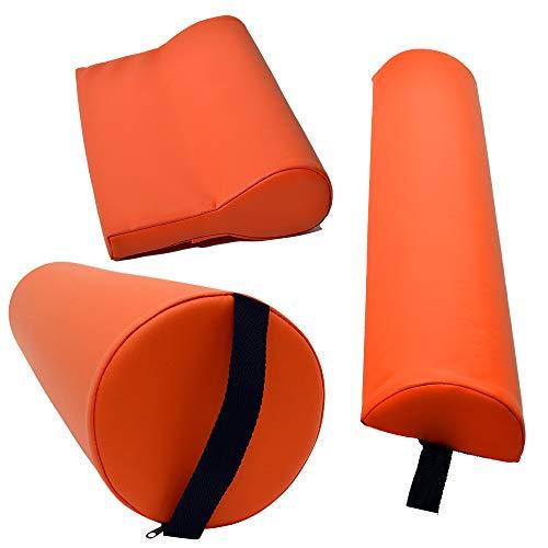 Massagezubehör Set 3 bestehend aus 1x Vollrolle Knierolle mit Griff 1x Lagerungsrolle Halbrolle und 1x Nackenkissen Kopfstütze für die Massageliege wasserabweisend in Orange