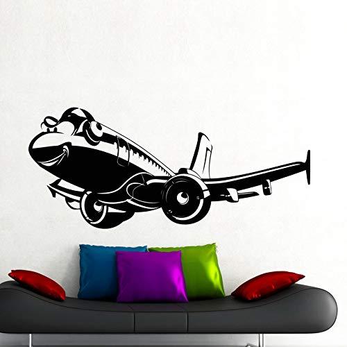 JXWH muursticker, motief: animatie, vliegtuig, creatieve kunst, afneembaar, decoratie voor thuis, vliegtuig, vinyl muurstickers