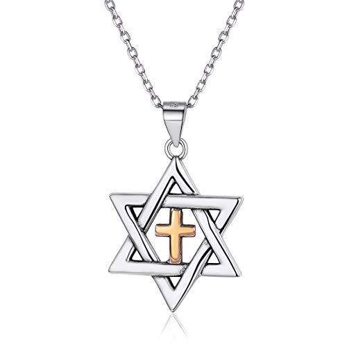 ChicSilver Estrellas de David con Cruz Mesiánico Colgante Plata de Ley 925 y Latón Collar de Judío con Cadena de Eslabones Redondos Joyería de Amuleto para Hombre y Mujer Hexagrama
