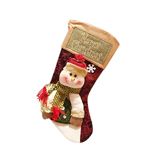 Cewtolkar Candy Beads Christmas Santa Claus Snowman Socks Decorations Christmas Tree Decor (Red-7)