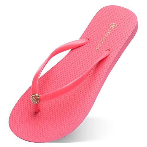 [LA-Hazel] ビーチサンダル レディース フラットヒール 滑り止め 防臭 速乾 柔らかい ビーサン ゴム草履 島ぞうり 軽量 歩きやすい 通年適用 室内履き 浴室 リゾート シンプル (ピンク, measurement_23_point_0_cen