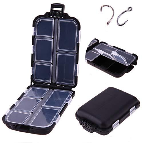 Demiawaking 10 Aufbewahrungsboxen aus Kunststoff für Angeln, wasserdicht, Zubehör für Haken/Köder, tragbar.