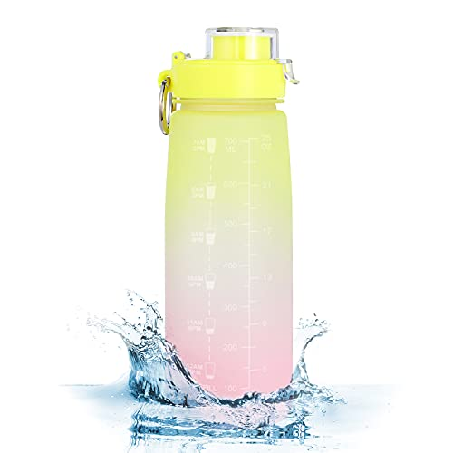 HOOFUN Motivational Sports Water Bottle: Leakproof Fitness 27oz 800ml Drink Bottle with Time Marker and Measurement Scale, Wide Mouth, Metal Ring, BPA Free for School and Office, Gym and Outdoors