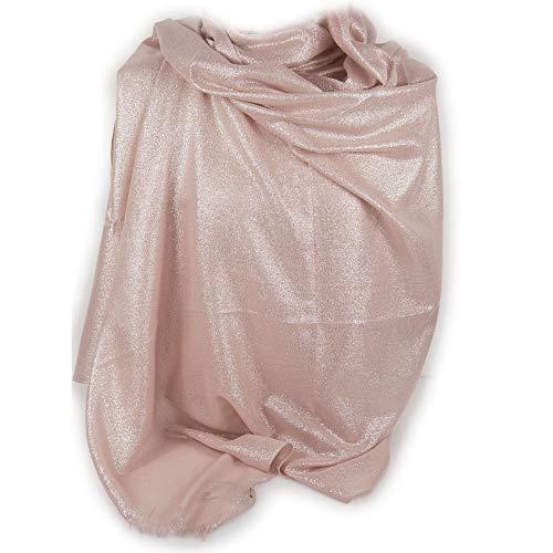 Stola donna oro rosa elegante cerimonia coprispalle glitter brillantini scialle glitterato grande da matrimonio per abito da sera ragazza signora Foulard fular leggero primavera estate 2021 rose-gold