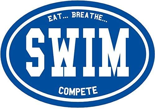 ION Graphics Swim Decal - Oval Eat Breathe Compete Swim Sticker - Swimming Bumper Sticker - Perfect Swimmer or Swim Coach Gift - Made in The USA Size: 4.7 x 3.3 inch