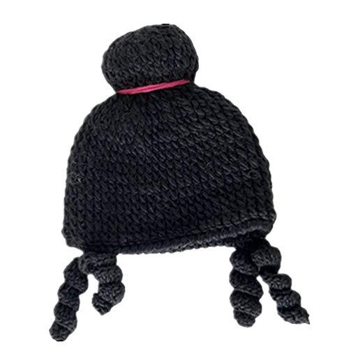 Tendycoco gebreide kindermuts wintermuts warm wol schattige pruik korte muts beanie voor balletprestaties geel