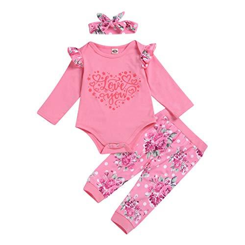 Kleider für Baby, Mädchen, 3-teilig, Hose und Body, für Kinder, Mädchen, bedruckt, Valentinstag und Hose und Haarband, Set Robemon Gr. 70 cm/0-6 Monate, Hot Pink