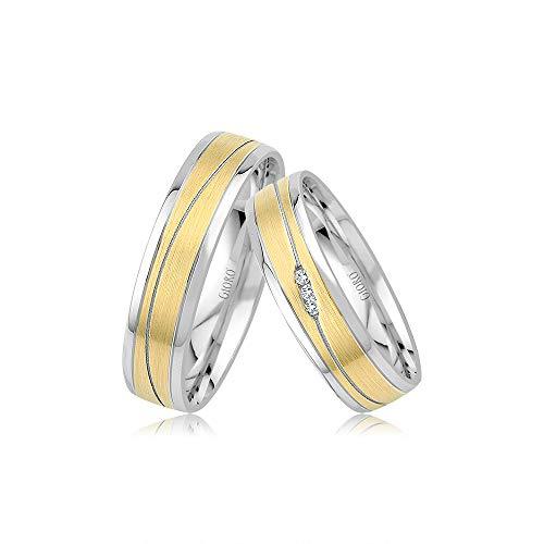 GIORO Bosa Eheringe Trauringe Hochzeitsringe massiv Bicolor Gelb -/ Weißgold *handgefasste Brillanten* Paarpreis Echtes Gold (8 Karat (333) Bicolor)