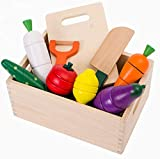 NPL Wooden Food Toys for Kids PretendPlay Food Set PlayKitchen Cut-Table Toy Fruit and Veg with Wooden Knife Peeler Cutting Board Gift Idea for Boy Girl Birthday (Standard Size)