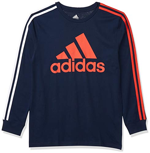 adidas Boys' Long Sleeve Cotton Jersey T-Shirt Tee, BoS Stripe Navy, Large