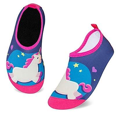 Zapatos de Agua para Niños Antideslizante Secado RáPido Descalzo Calcetines Zapatillas de Piscina Escarpines(Unicornio Caballo Azul,30/31EU)