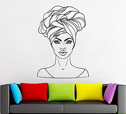 African Style Wall Decal Window Sticker Beauty Salon Woman Face Africa Afro American ad 1298