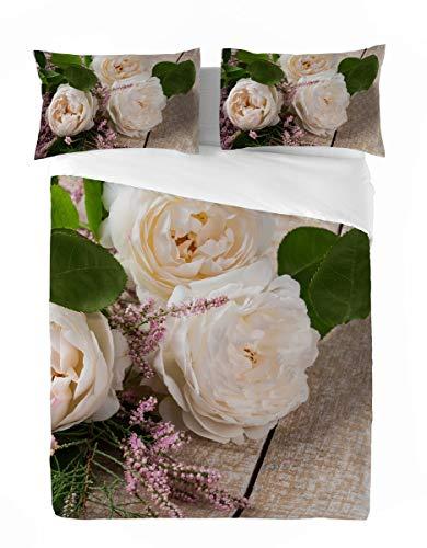 LARA MORADA Set Completo Letto Lenzuola COPRILETTO Matrimoniale 2P Stampa Digitale Fotografica AD Alta Definizione 4K (White Rose)