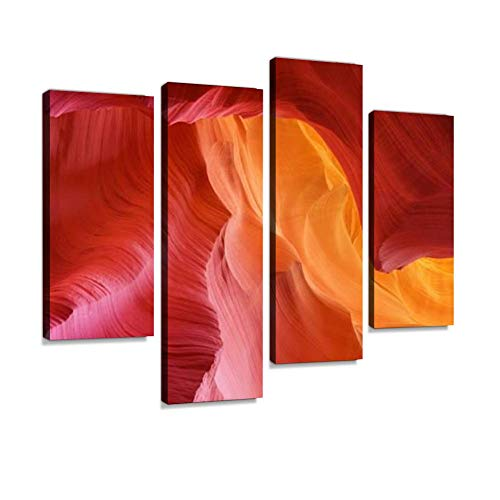 Color hues of Stone in Antelope Canyon Canvas Wall Art Hanging Paintings Modern Artwork Abstract Picture Prints Home Decoration Gift Unique Designed Framed 4 Panel