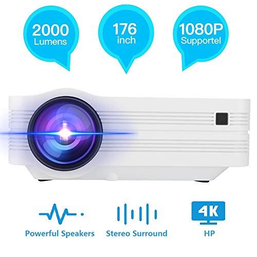 Hakeeta Mini draagbare LED 3D-beamer, 5500 lumen Full HD 1080P 1920 * 1080 LCD thuisbioscoop projector, deze beamer kan op het plafond projecteren, compatibel met SD USB AV HDMI VGA etc.