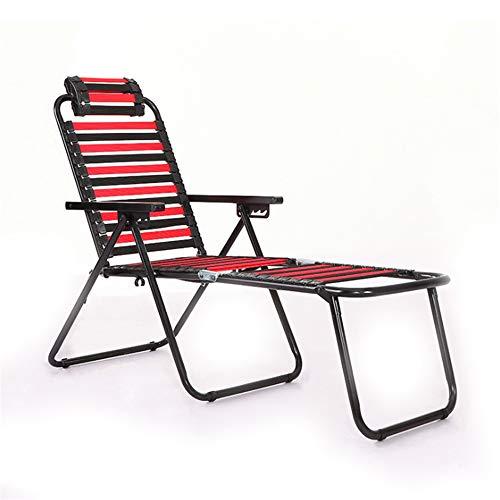 Opvouwbare Lounge Stoel Draagbare Camping Ligstoelen Verstelbare Chaise Stoel met Kussen voor Indoor of Outdoor Achtertuin Patio Beach Zwembad (Rood)