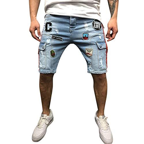 Short De Extensible Loisir Travail Casual Bermuda Pantalons Respirants,Hommes D'éTé Jeans Courts DéContractéS Shorts en Jean Skate Board Slim Fashion Jeans(Blue,XL)