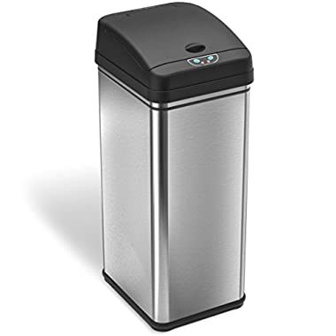 iTouchless 13 Gallon Stainless Steel Automatic Trash Can with Odor Control System, Big Lid Opening (Base Version - No AC Adapter)