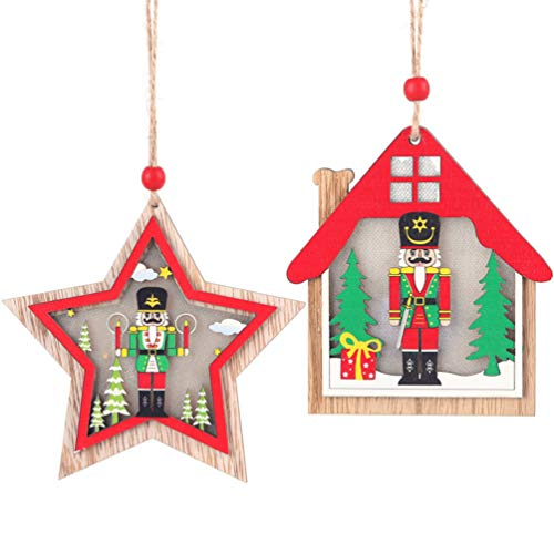 Amosfun 2Pcs Wooden Christmas Tree Hanging Ornaments Star House Shape Nutcracker Embellishment Xmas Tree Topper Hanging Pendant with Light For Xmas Party Home Decoration