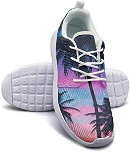 Hobart dfgrwe Sunset Palm Tree Womens Flat Bottom Fashion Sports Shoes