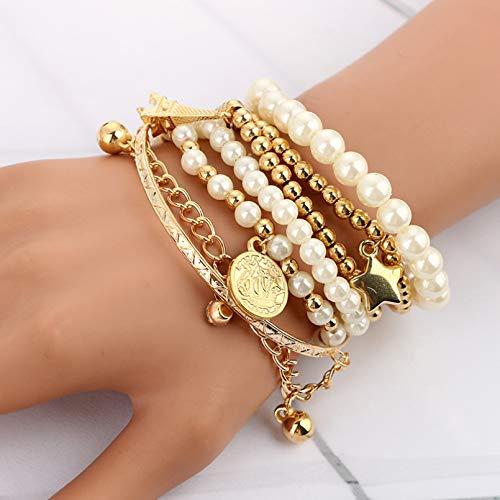 YIKOUQI 6 unids/Set de Perlas de Color Dorado a la Moda, Conjunto de Pulseras con Cuentas Multicapa de Estrella de Perla para Mujer, Regalo de joyería de Fiesta con Encanto