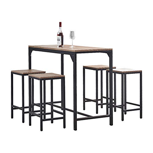 Ansley&HosHo Contemporary 5 PCS Kitchen Dining Room Table and 4 Chair Set Space-saving, Walnut Wood Tabletop with Black Metal Frame, Breakfast Bar Table and Counter Stools Set of 4 for Small Space