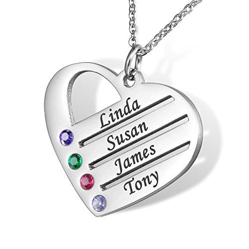HOUSWEETY Familie Namenskette mit Geburtssteinen Edelstahl Hals-Kette - Personalisiert mit Ihrem eigenen Namen
