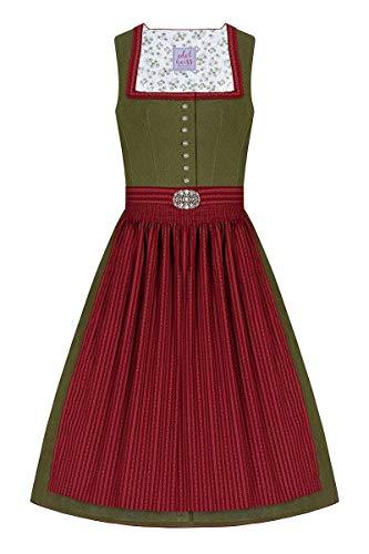Edelheiss Moser Trachten Baumwolle Midi Dirndl 65er Oliv rot Anne 006245, Rocklänge: ca. 65cm, mit Knopfleiste, Größe 36