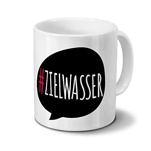 printplanet Tasse mit #zielwasser - Motiv Hashtag - Kreative-Tasse, Kaffeebecher, Mug, Becher, Kaffeetasse - Farbe Weiß