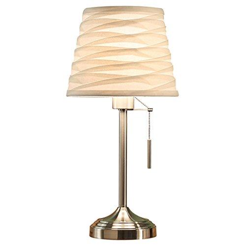 LEGELY Lampe de table, lampe de bureau en fer forgé, lampe de lecture de mode romantique, lampe de chevet chambre chaude, lampe de maison design nordique, abat-jour en tissu rayures ondulées beige