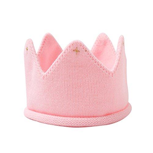 LUOEM Diadema Corona Cumpleaños Bebe Sombrero Gorro de Punto Bebe Invierno (Rosa)