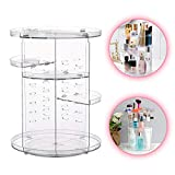 Luismia Makeup Organizer 360 Degree Rotating Adjustable Cosmetic Storage Makeup Case Box - Large Capacity Fits Different Types of Cosmetics and Accessories (Transparent)