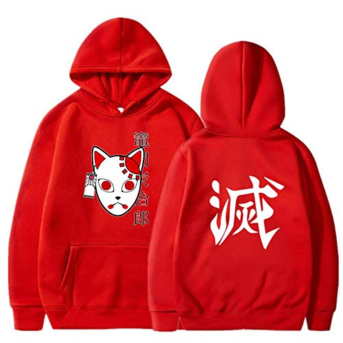 LALLing Hombres Nios Anime Demon Slayer Sudadera con Capucha Streetwear Pullover Sudadera Harajuku Kamado Tanjiro Cosplay Disfraz Sudaderas con Capucha Tops