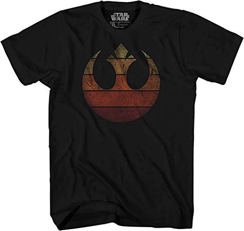 Rebel Alliance Rebellion Retro Gradient Tee Episode 8 VIII The Last Jedi Luke Skywalker Rey Princess Leia Chewbacca Finn R2D2 BB8 Adult Mens Graphic T-Shirt Apparel (Black, Large)