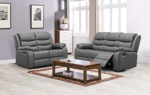 Juego de sofá reclinable de Landos gris   3 + 2 sofás reclinables manuales   reclinables baratos de cuero gris